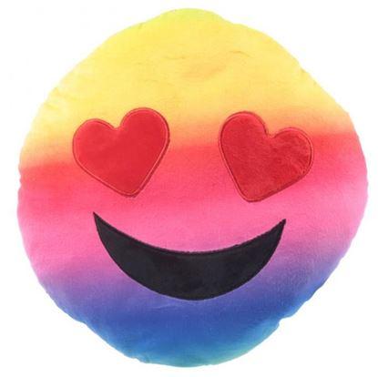 Obrázok Plyšový vankúš smajlík - Zamilovaný dúhový