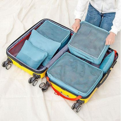 Obrázok z Sada cestovných organizérov do kufra – svetlo modrá