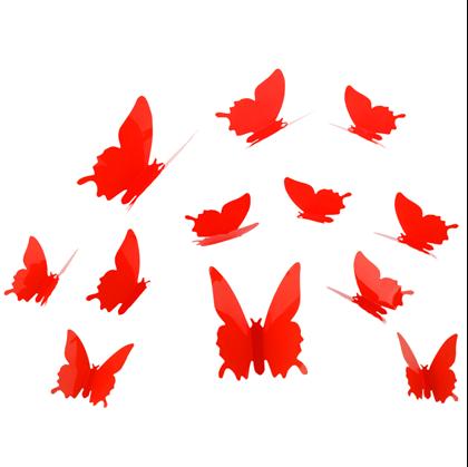 Obrázok z 3D motýle na stenu - červená