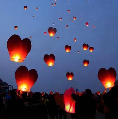 Obrázok Lampióny šťastia 10 kusov - tvar srdca červenej
