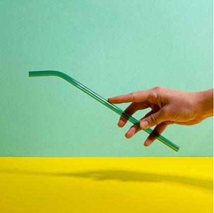 Obrázok z Zahnutá sklenená slamka - zelená