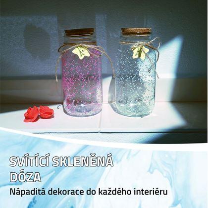 Obrázok z Svietiaca sklenená fľaša - biela/tyrkysová