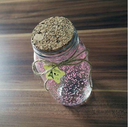 Obrázok z Svietiaca sklenená fľaša - ružová/žltá