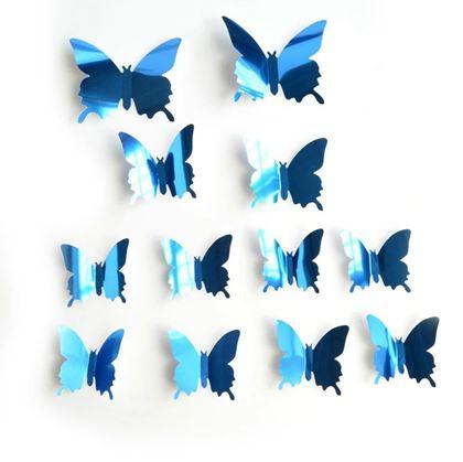 Obrázok z Zrkadlový motýľ 12ks - modrý