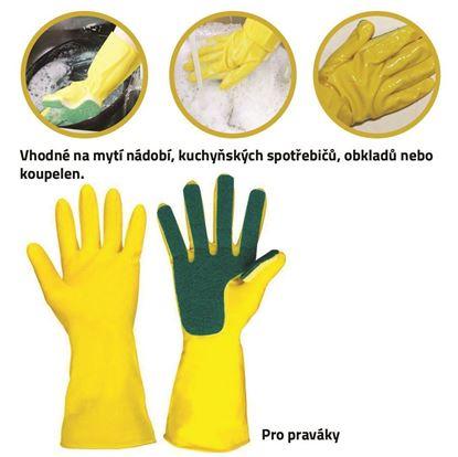 Obrázok Rukavice na umývanie riadu s hubkou