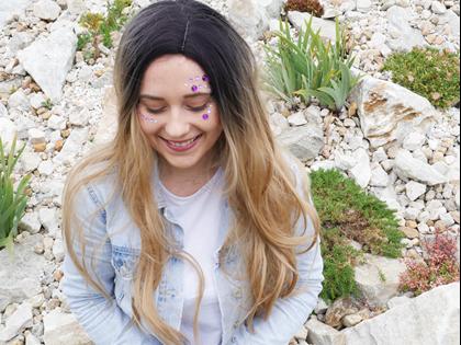 Obrázok z Nalepovacie kamienky na tvár - fialové