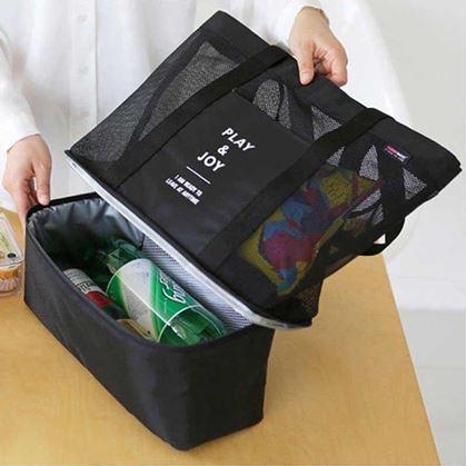 Obrázok z Plážová taška s termo priehradkou - čierna